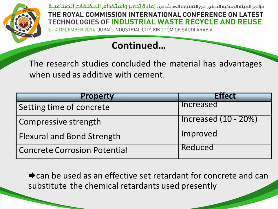 Continued… The research studies concluded the material has advantages when used as additive with cement.