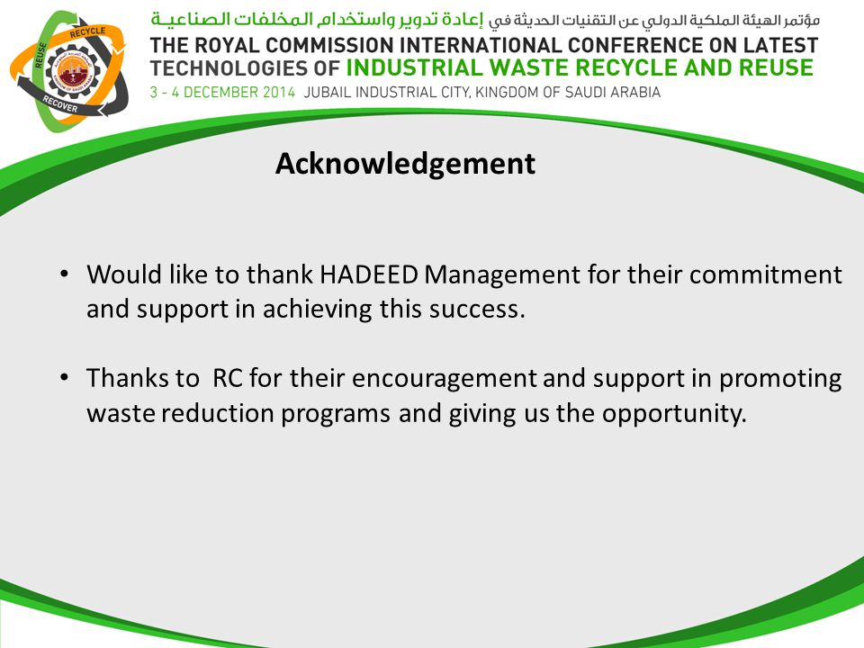 Would like to thank HADEED Management for their commitment and support in achieving this success.