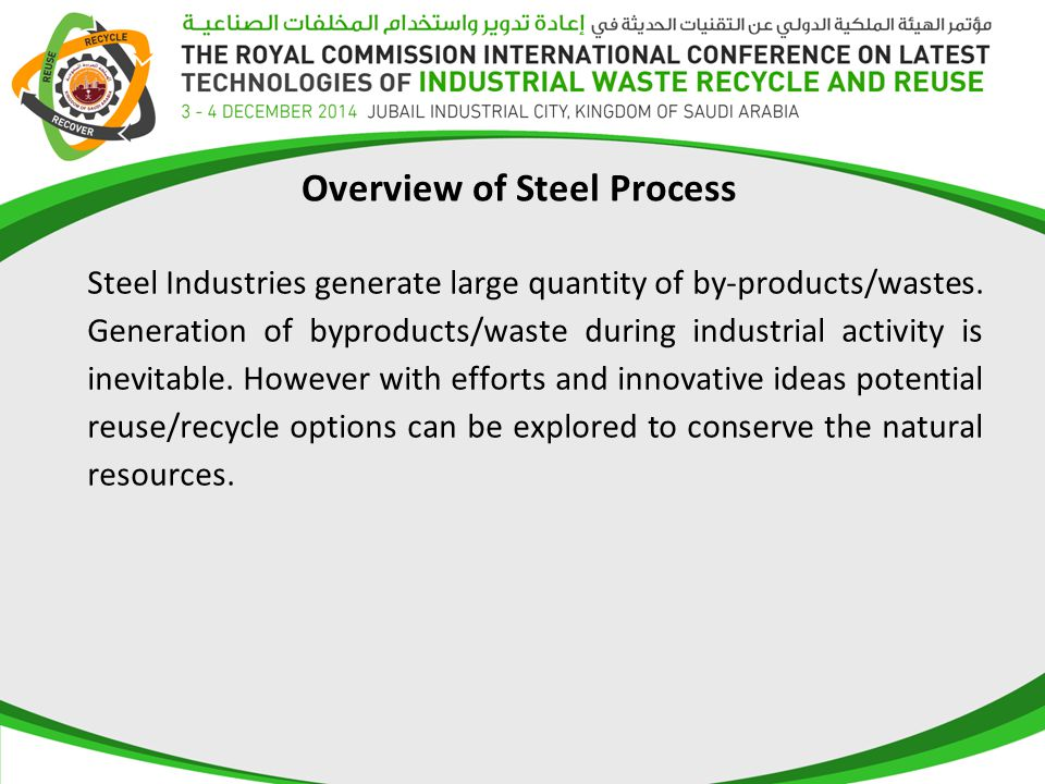 Overview of Steel Process Steel Industries generate large quantity of by-products/wastes.