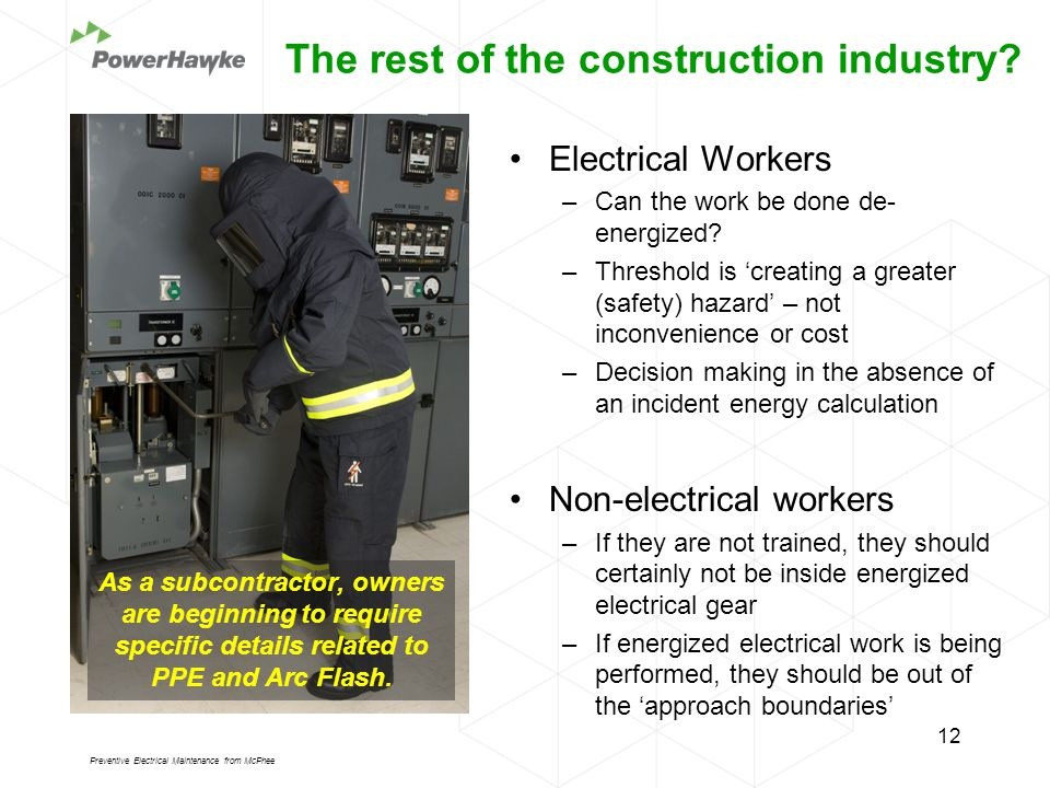 Electrical Workers –Can the work be done de- energized.