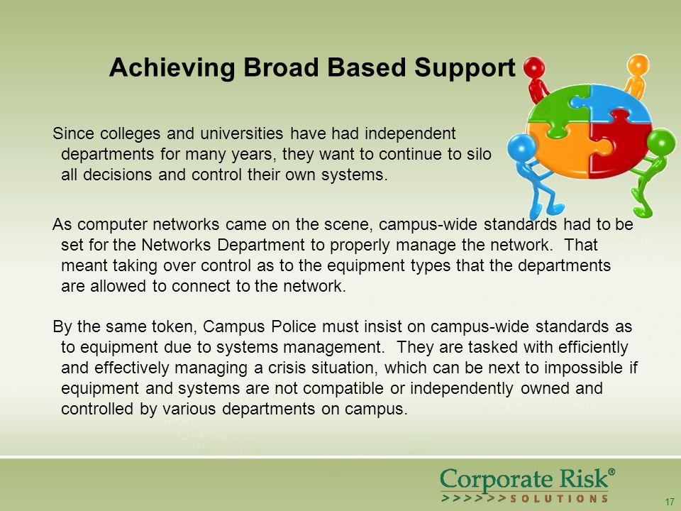 17 Achieving Broad Based Support As computer networks came on the scene, campus-wide standards had to be set for the Networks Department to properly manage the network.