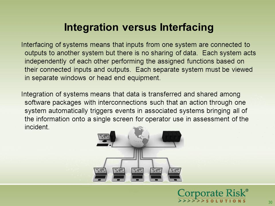 30 Integration versus Interfacing Interfacing of systems means that inputs from one system are connected to outputs to another system but there is no sharing of data.