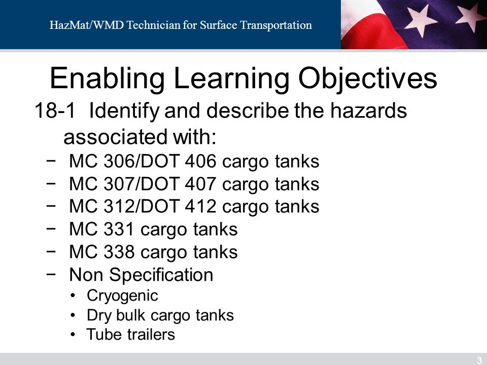 HazMat/WMD Technician for Surface Transportation 64 Tube Trailer – Non Spec Trailer Each cylinder is a separate DOT spec.