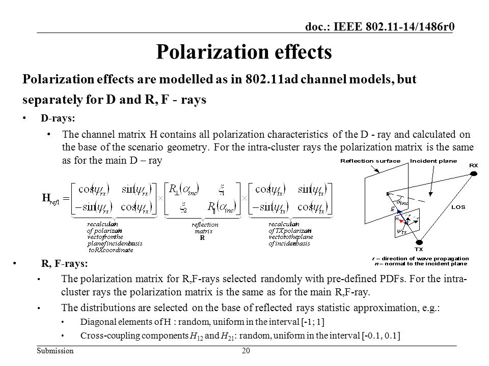 Submission doc.: IEEE 802.11-14/1486r0 Polarization effects Polarization effects are modelled as in 802.11ad channel models, but separately for D and