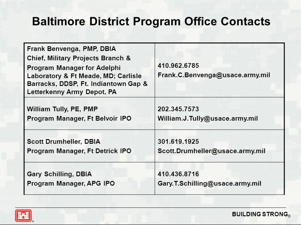 BUILDING STRONG ® Baltimore District Program Office Contacts Frank Benvenga, PMP, DBIA Chief, Military Projects Branch & Program Manager for Adelphi Laboratory & Ft Meade, MD; Carlisle Barracks, DDSP, Ft.