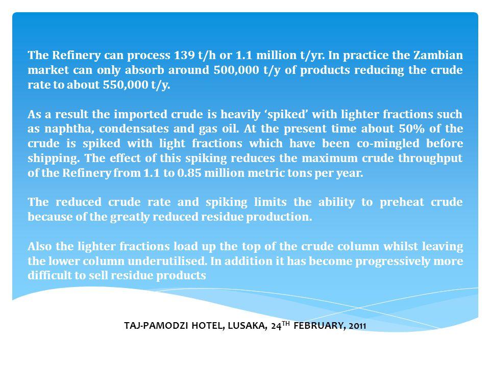 TAJ-PAMODZI HOTEL, LUSAKA, 24 TH FEBRUARY, 2011 The Refinery can process 139 t/h or 1.1 million t/yr.