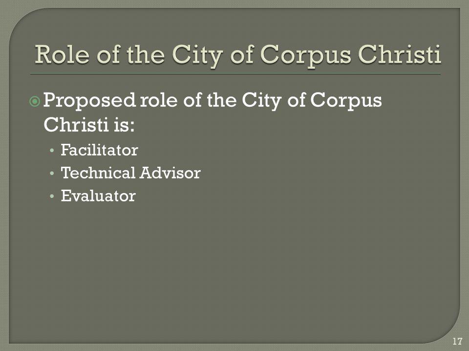  Proposed role of the City of Corpus Christi is: Facilitator Technical Advisor Evaluator 17