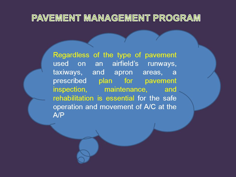 Regardless of the type of pavement used on an airfield's runways, taxiways, and apron areas, a prescribed plan for pavement inspection, maintenance, a