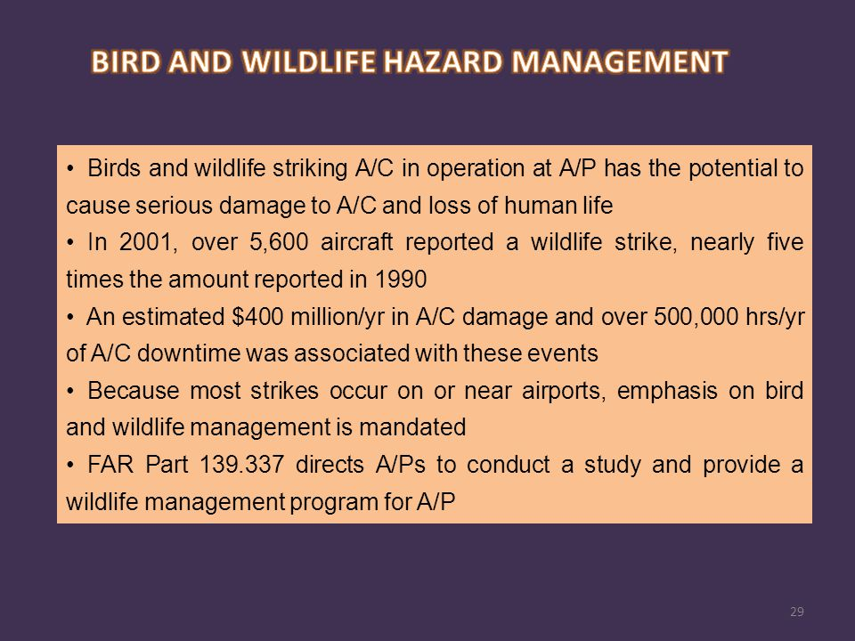 Birds and wildlife striking A/C in operation at A/P has the potential to cause serious damage to A/C and loss of human life In 2001, over 5,600 aircra