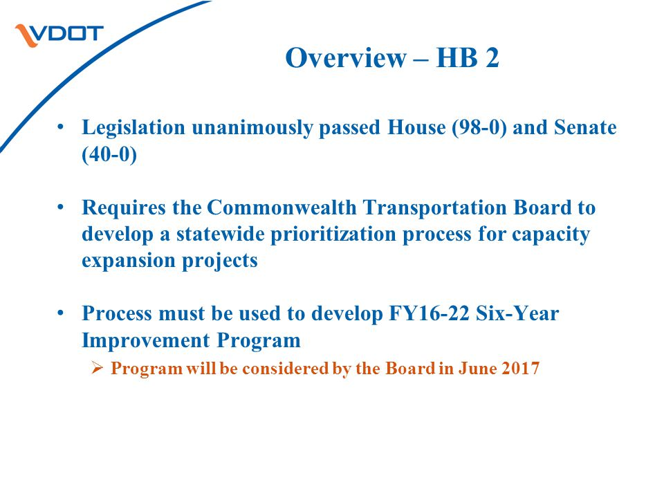 Overview – HB 2 Legislation unanimously passed House (98-0) and Senate (40-0) Requires the Commonwealth Transportation Board to develop a statewide prioritization process for capacity expansion projects Process must be used to develop FY16-22 Six-Year Improvement Program  Program will be considered by the Board in June 2017