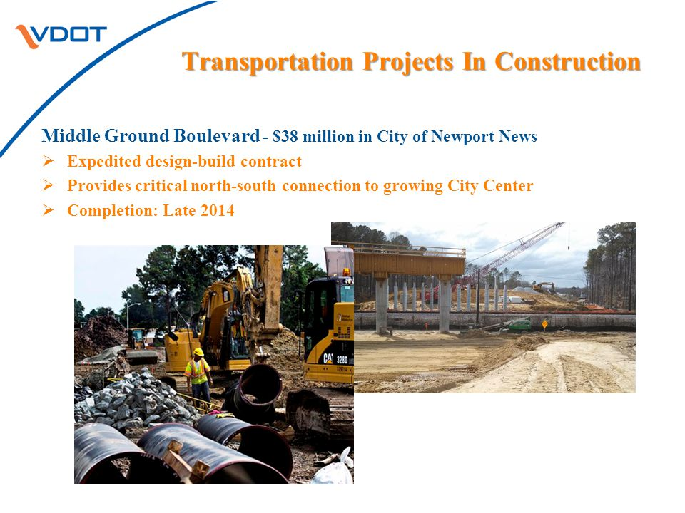 Transportation Projects In Construction Middle Ground Boulevard - $38 million in City of Newport News  Expedited design-build contract  Provides critical north-south connection to growing City Center  Completion: Late 2014