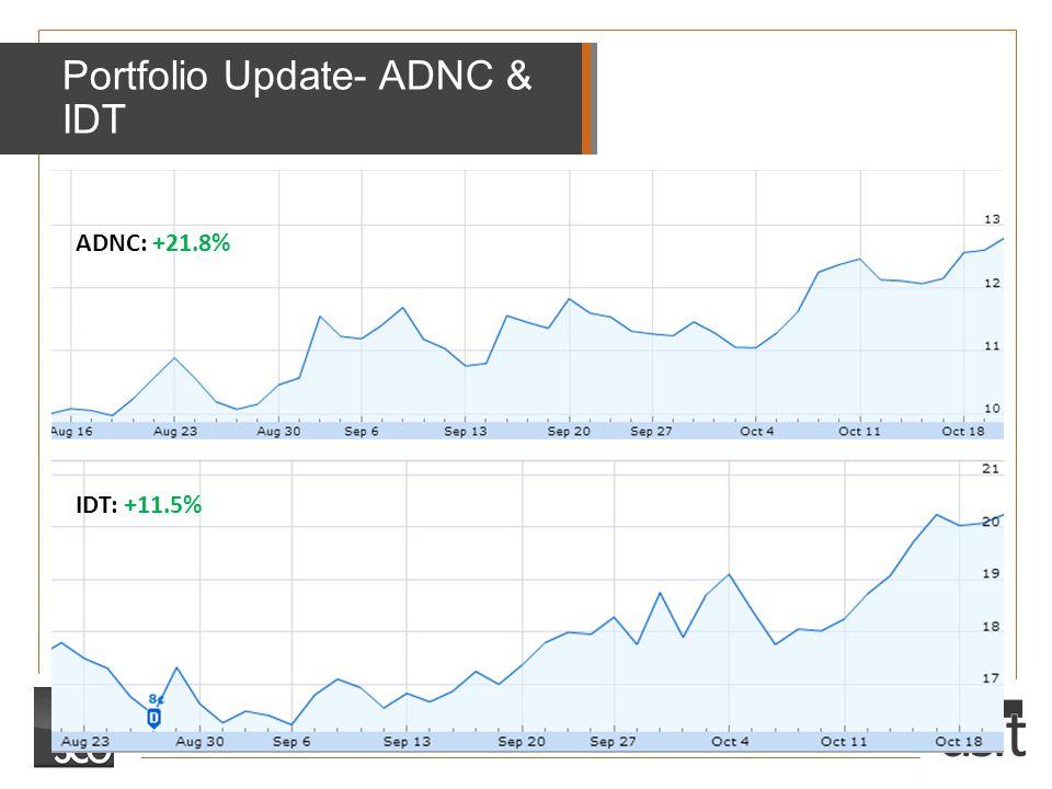Portfolio Update- ADNC & IDT ADNC: +21.8% IDT: +11.5%