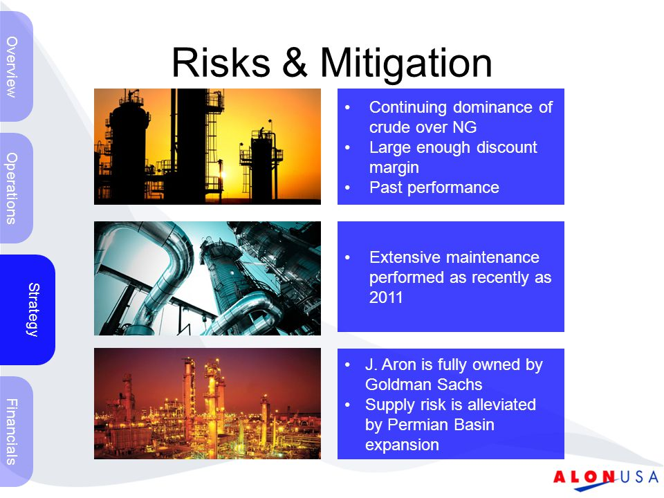 Risks & Mitigation Operations Strategy Financials Overview Volatility of Crude Prices Single Refinery = 60% of Gross Margin Largest Supplier & Customer is J.