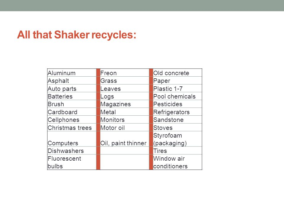 All that Shaker recycles: Aluminum Freon Old concrete Asphalt Grass Paper Auto parts Leaves Plastic 1-7 Batteries Logs Pool chemicals Brush Magazines Pesticides Cardboard Metal Refrigerators Cellphones Monitors Sandstone Christmas trees Motor oil Stoves Computers Oil, paint thinner Styrofoam (packaging) Dishwashers Tires Fluorescent bulbs Window air conditioners