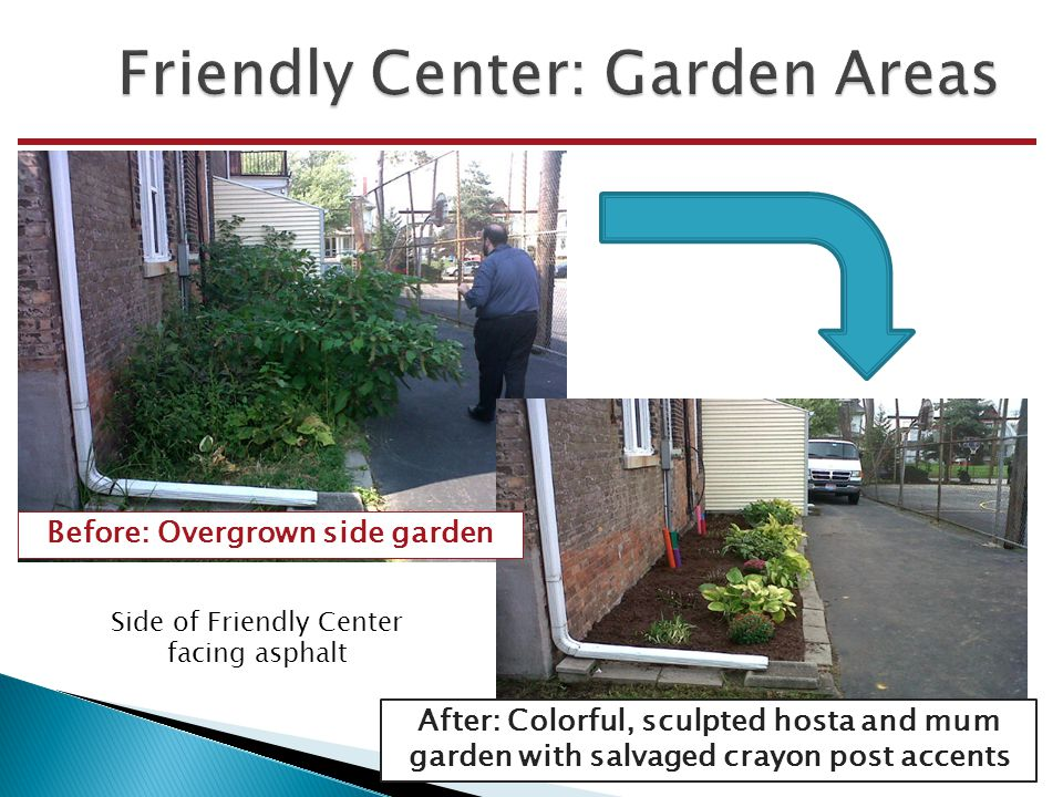 After: Colorful, sculpted hosta and mum garden with salvaged crayon post accents Side of Friendly Center facing asphalt Before: Overgrown side garden