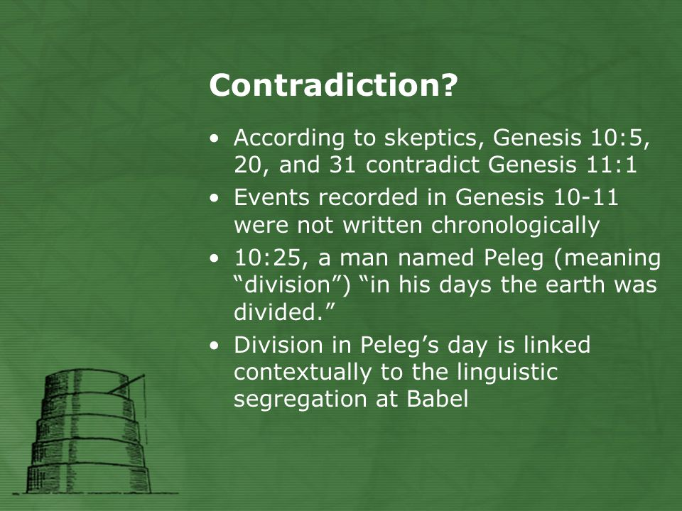 Contradiction? According to skeptics, Genesis 10:5, 20, and 31 contradict Genesis 11:1 Events recorded in Genesis 10-11 were not written chronological