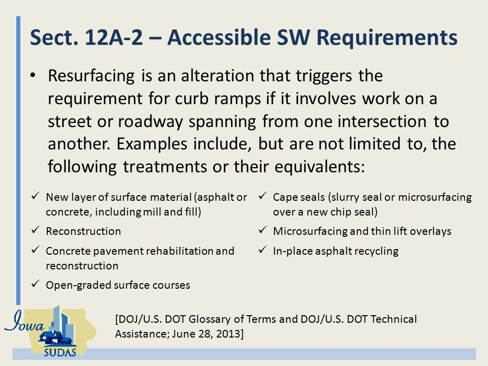 Sect. 12A-2 – Accessible SW Requirements Resurfacing is an alteration that triggers the requirement for curb ramps if it involves work on a street or