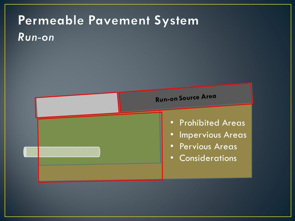 Run-on Source Area Prohibited Areas Impervious Areas Pervious Areas Considerations