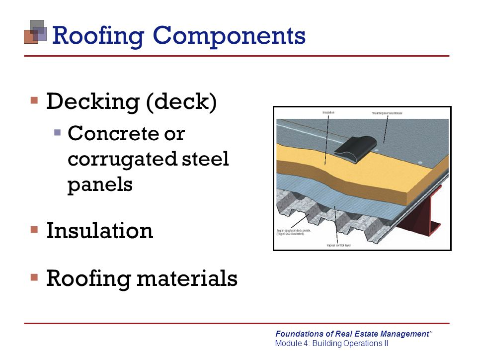 Foundations of Real Estate Management Module 4: Building Operations II TM Roofing Systems  Flat roofs  Not really flat – there is some degree of pitch  Usually pitches to front or back of property  Sometimes pitches to the center  Pitched roofs  Drains and gutters
