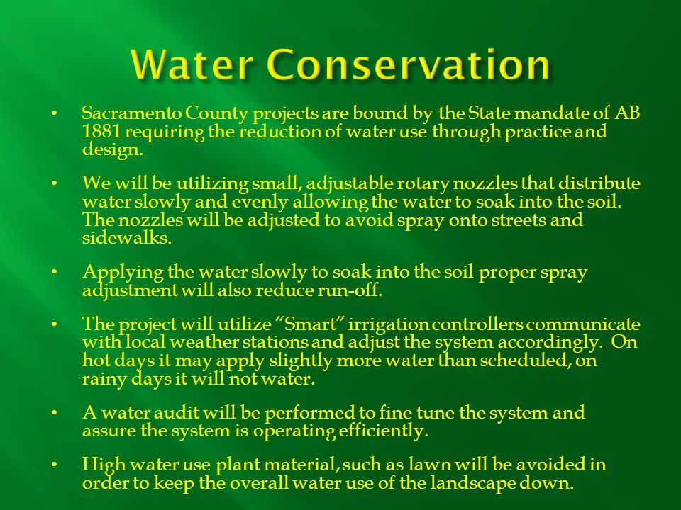 As with water conservation and AB1881, many of the concepts in the River Friendly Guidelines book are already part of Sacramento County's daily considerations when designing a project By filtering the runoff from paved surfaces through flow-through stormwater planters, pollutants will be filtered out before reaching traditional stormwater and natural drainage systems.