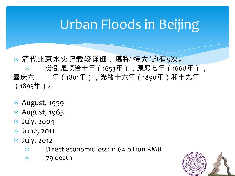 ∗ 清代北京水灾记载较详细,堪称 特大 的有 5 次。 ∗ 分别是顺治十年( 1653 年),康熙七年( 1668 年), 嘉庆六 年( 1801 年),光绪十六年( 1890 年)和十九年 ( 1893 年)。 ∗ August, 1959 ∗ August, 1963 ∗ July, 2004 ∗ June, 2011 ∗ July, 2012 ∗ Direct economic loss: 11.64 billion RMB ∗ 79 death Urban Floods in Beijing