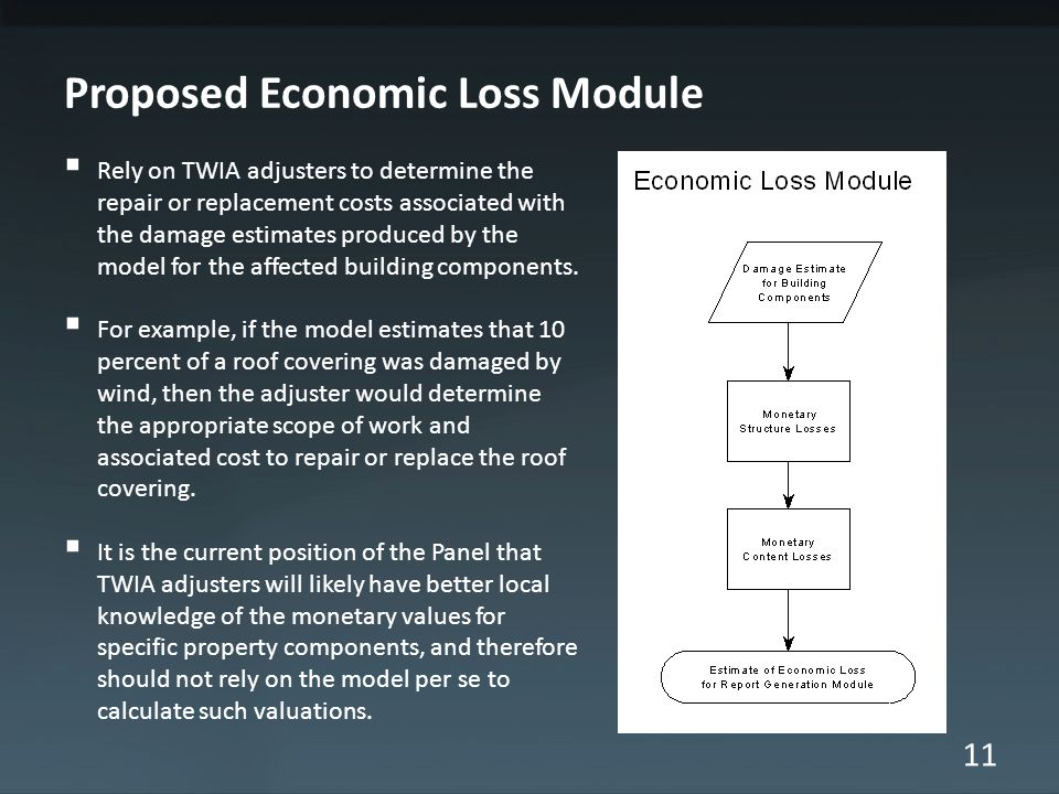 11 Proposed Economic Loss Module  Rely on TWIA adjusters to determine the repair or replacement costs associated with the damage estimates produced b