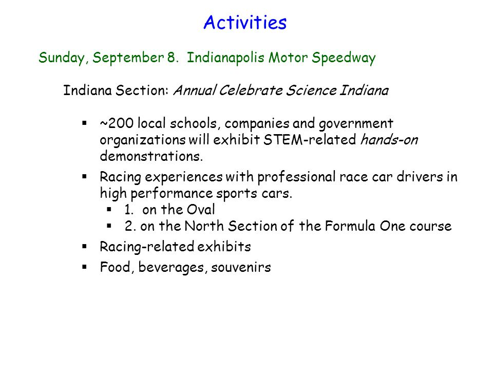 Chemistry of Racing (Thematic Symposium) Monday, September 9, Convention Center Bryan Vogt and David Lohse Sibel Selcuk, Christina Bodurow, David Mitchell, Linda Osborn Division Sponsors: POLY, PMSE, and ENFL Sponsor: Indiana Section Special Guest Speaker: Mr.