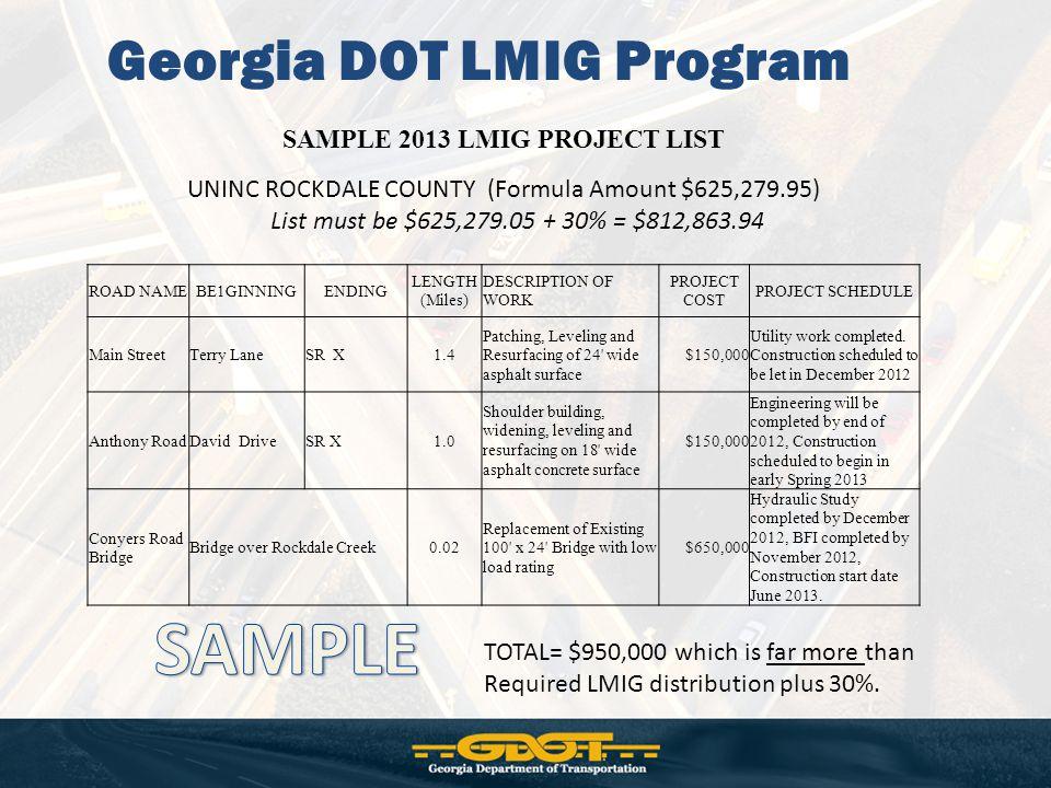 Georgia DOT LMIG Program SAMPLE 2013 LMIG PROJECT LIST UNINC ROCKDALE COUNTY (Formula Amount $625,279.95) List must be $625,279.05 + 30% = $812,863.94