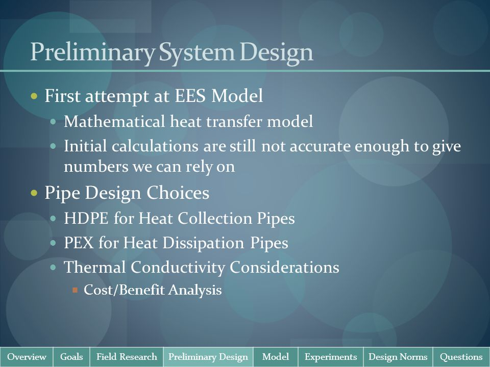 Preliminary System Design First attempt at EES Model Mathematical heat transfer model Initial calculations are still not accurate enough to give numbe