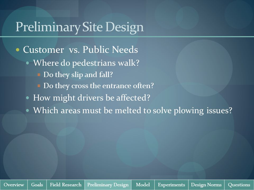 Preliminary Site Design Customer vs. Public Needs Where do pedestrians walk.