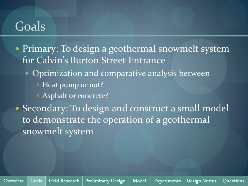 Goals Primary: To design a geothermal snowmelt system for Calvin's Burton Street Entrance Optimization and comparative analysis between  Heat pump or not.
