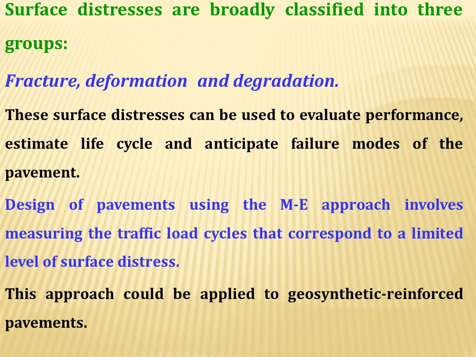 The mechanisitc properties of pavement materials are used to estimate stresses and displacements under loading. These estimates are in turn converted