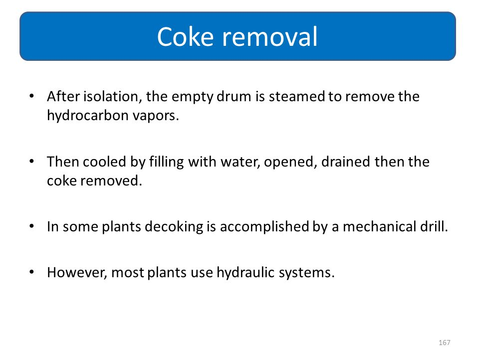 After isolation, the empty drum is steamed to remove the hydrocarbon vapors. Then cooled by filling with water, opened, drained then the coke removed.