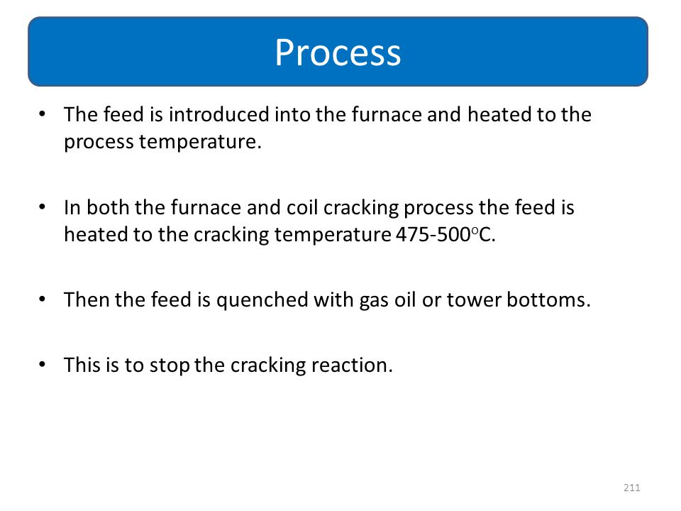 The feed is introduced into the furnace and heated to the process temperature. In both the furnace and coil cracking process the feed is heated to the