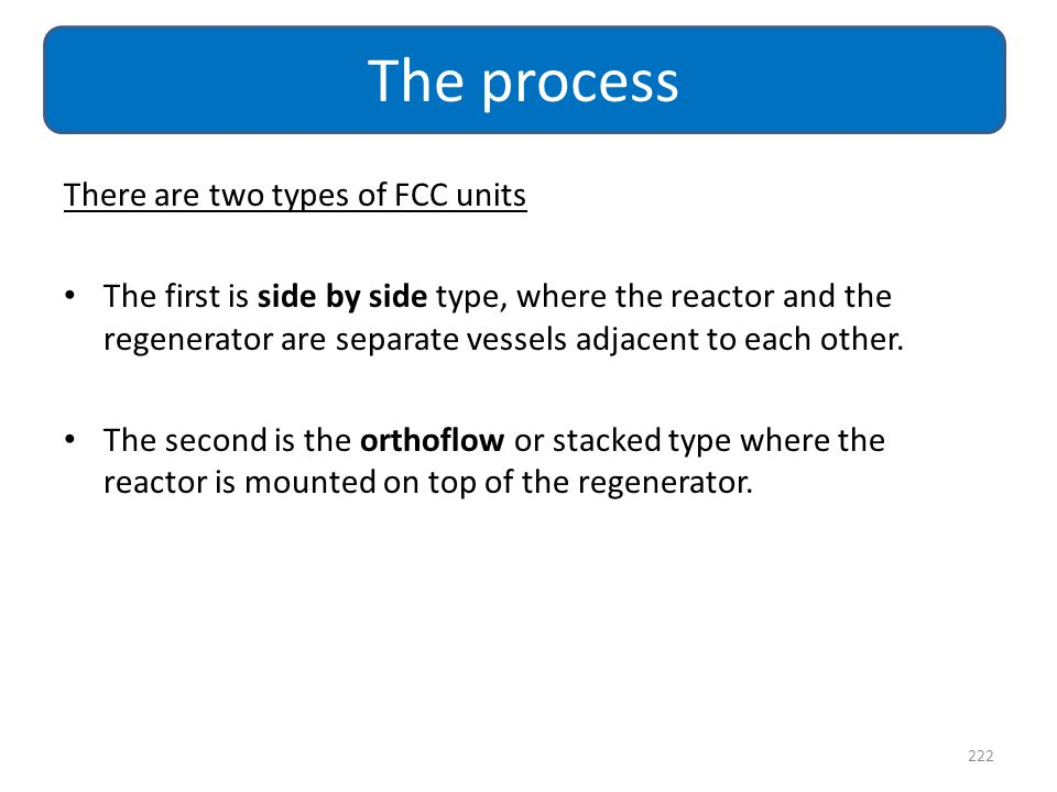 There are two types of FCC units The first is side by side type, where the reactor and the regenerator are separate vessels adjacent to each other. Th