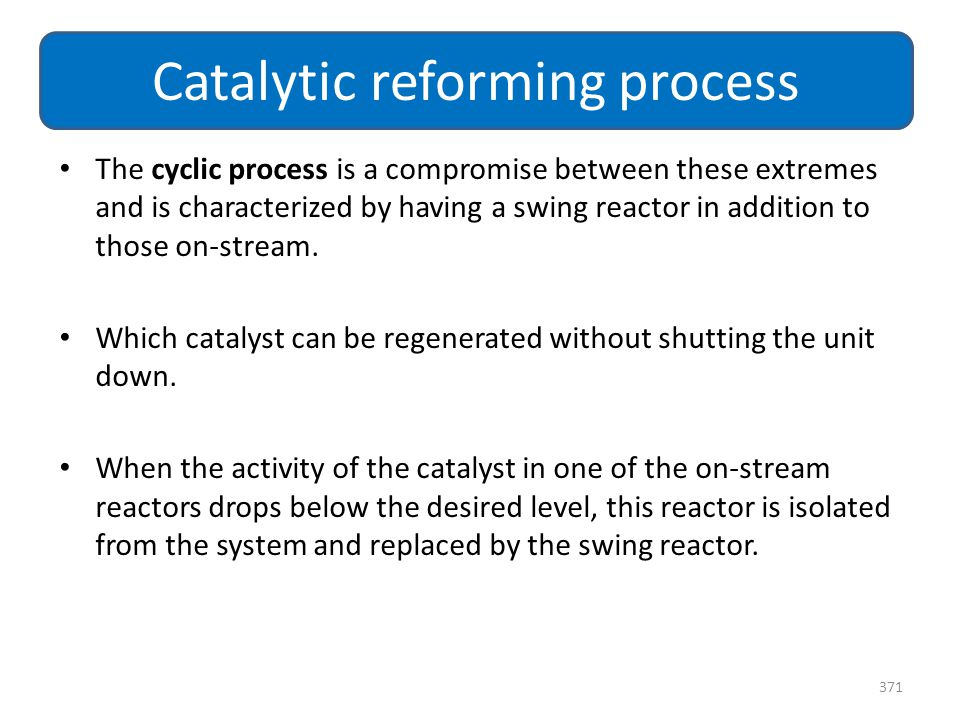 The cyclic process is a compromise between these extremes and is characterized by having a swing reactor in addition to those on-stream. Which catalys