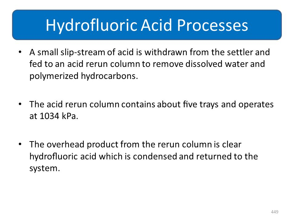 A small slip-stream of acid is withdrawn from the settler and fed to an acid rerun column to remove dissolved water and polymerized hydrocarbons. The