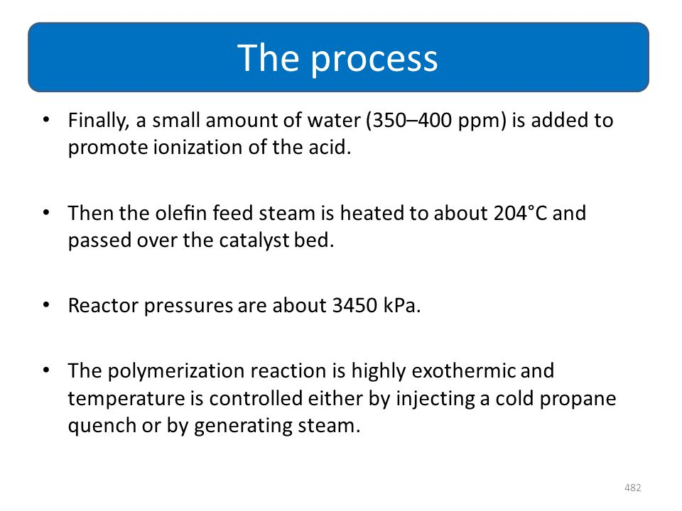 Finally, a small amount of water (350–400 ppm) is added to promote ionization of the acid. Then the olefin feed steam is heated to about 204°C and pass