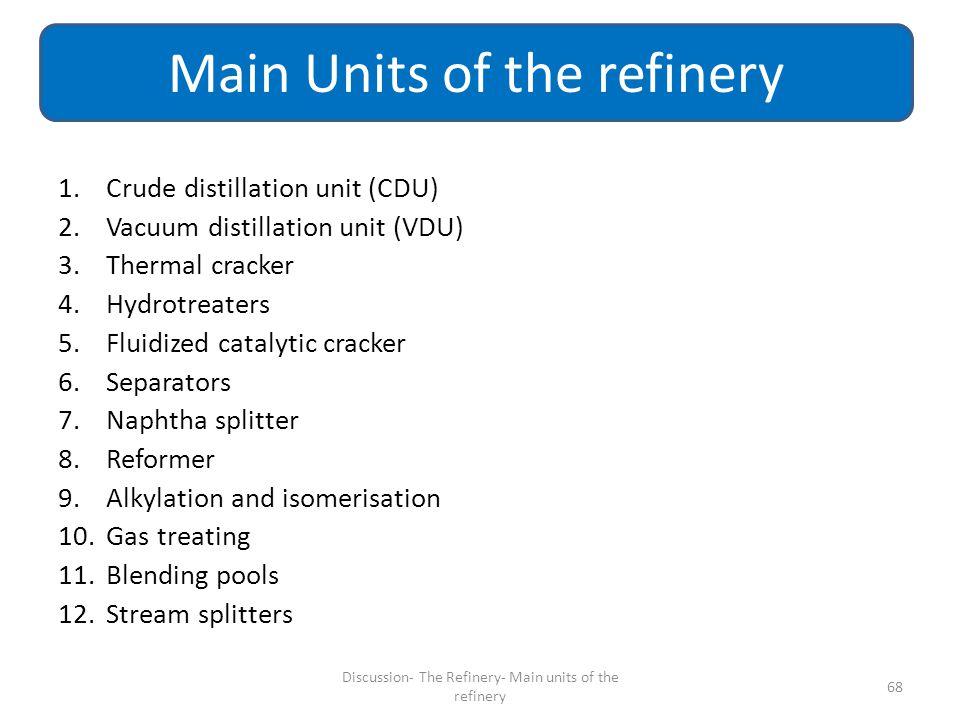 1.Crude distillation unit (CDU) 2.Vacuum distillation unit (VDU) 3.Thermal cracker 4.Hydrotreaters 5.Fluidized catalytic cracker 6.Separators 7.Naphth