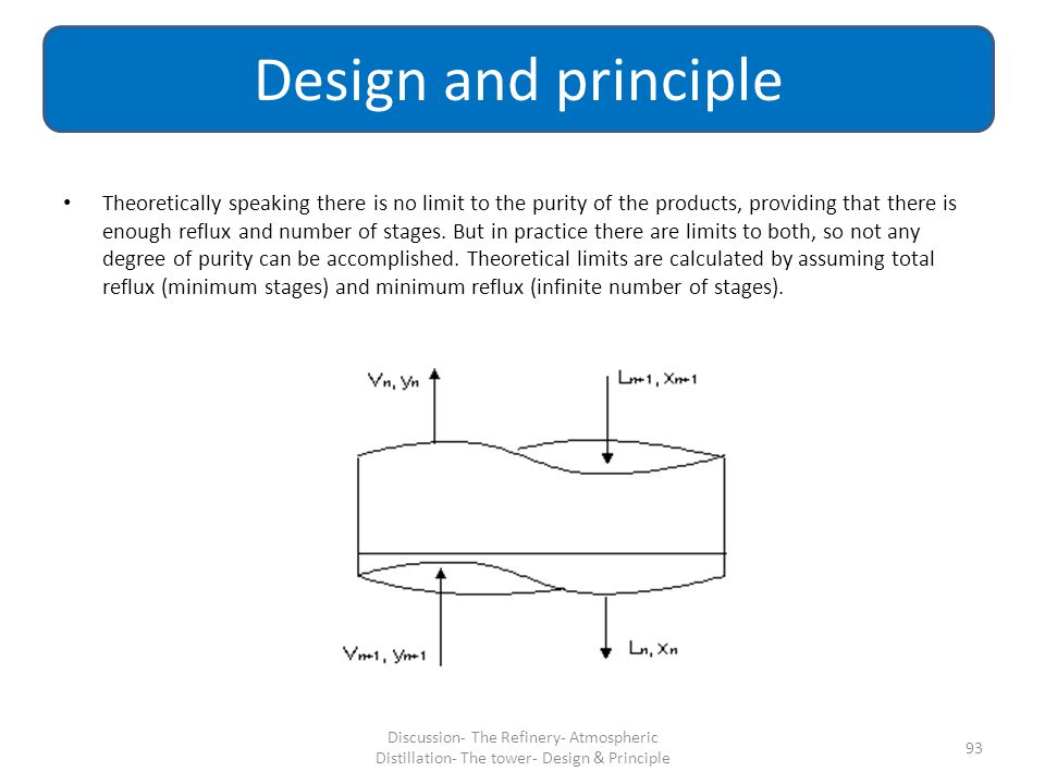 Theoretically speaking there is no limit to the purity of the products, providing that there is enough reflux and number of stages. But in practice th