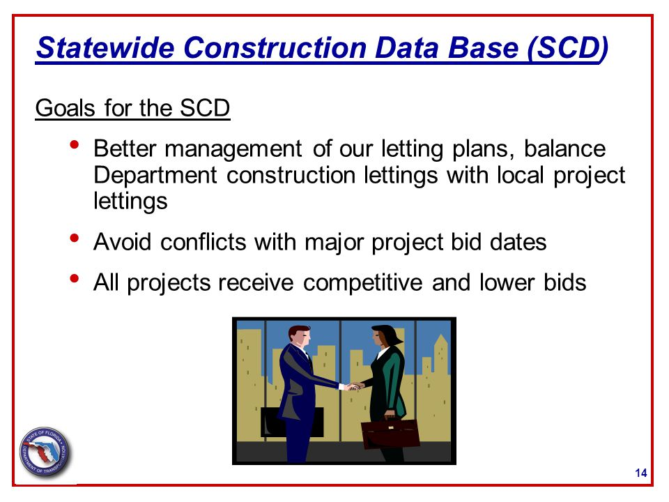 14 Statewide Construction Data Base (SCD) Goals for the SCD Better management of our letting plans, balance Department construction lettings with loca