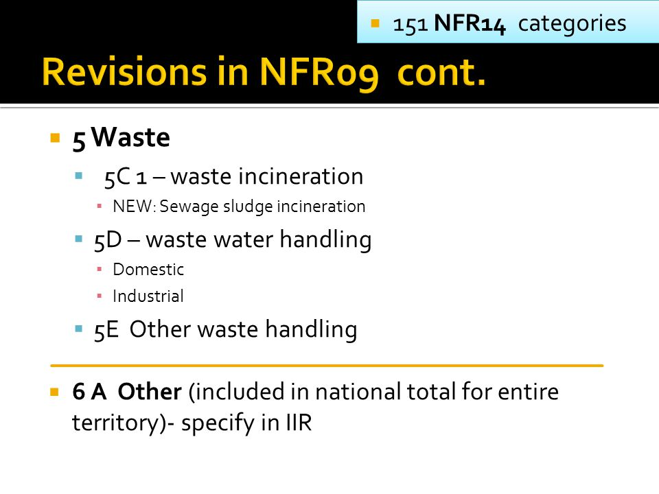  5 Waste  5C 1 – waste incineration ▪ NEW: Sewage sludge incineration  5D – waste water handling ▪ Domestic ▪ Industrial  5E Other waste handling  6 A Other (included in national total for entire territory)- specify in IIR  151 NFR14 categories