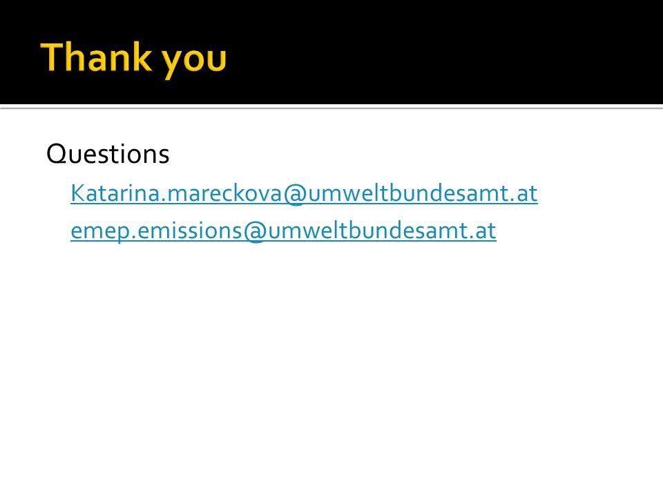 Questions Katarina.mareckova@umweltbundesamt.at emep.emissions@umweltbundesamt.at