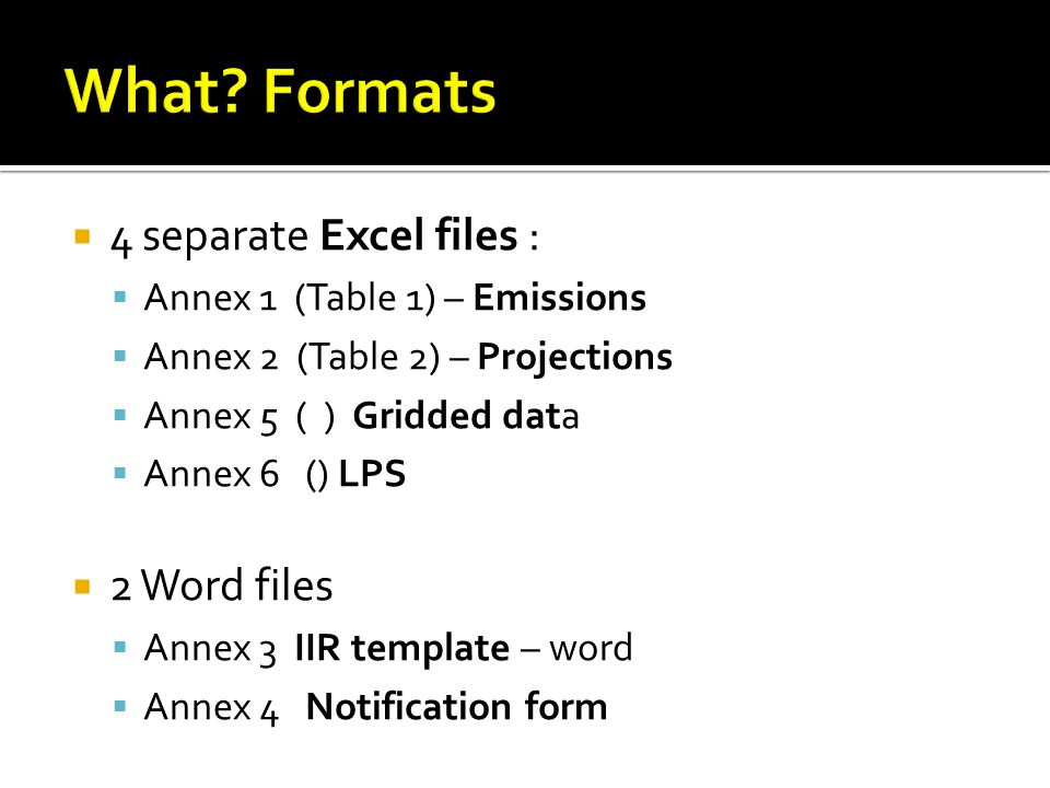  4 separate Excel files :  Annex 1 (Table 1) – Emissions  Annex 2 (Table 2) – Projections  Annex 5 ( ) Gridded data  Annex 6 () LPS  2 Word files  Annex 3 IIR template – word  Annex 4 Notification form