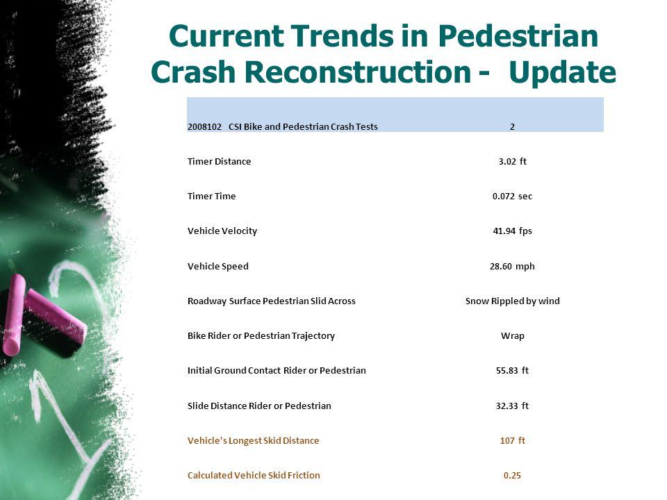 Current Trends in Pedestrian Crash Reconstruction - Update 2008102 CSI Bike and Pedestrian Crash Tests2 Timer Distance3.02 ft Timer Time0.072 sec Vehi