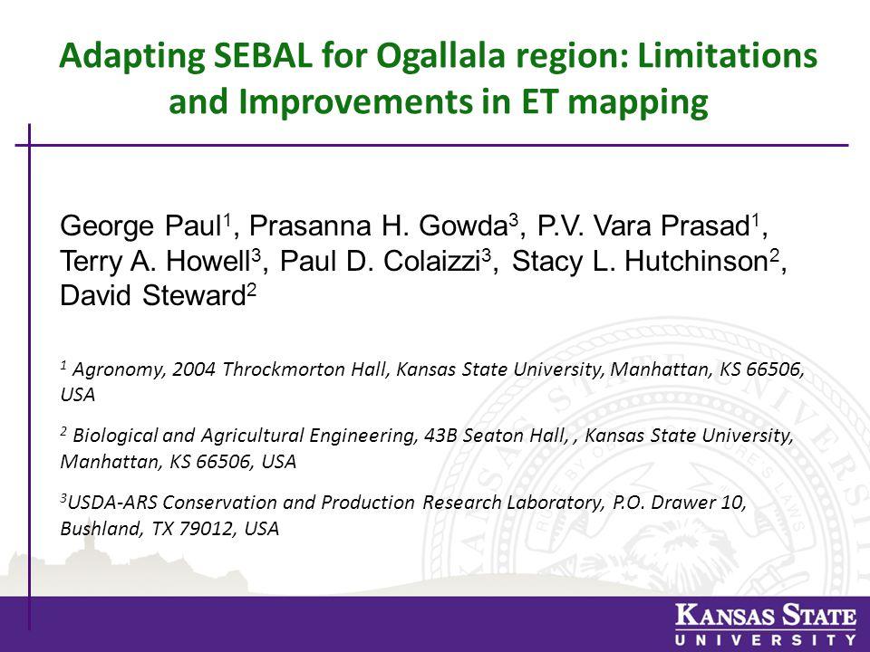 SEBS-SEBAL Hybrid Algorithm Results 1.Linear temperature gradient approach from SEBAL.