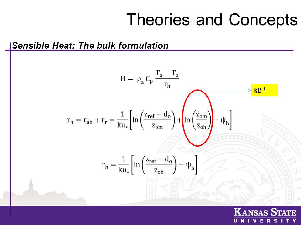 Theories and Concepts Sensible Heat: The bulk formulation kB -1
