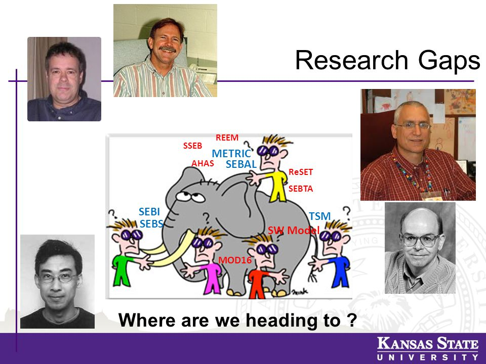 Research Gaps SEBAL SEBS TSM METRIC MOD16 Where are we heading to .