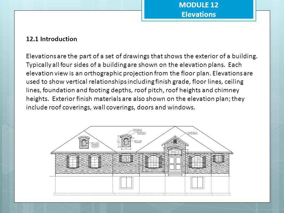 MODULE 12 Elevations 12.5.2 What is the purpose of an elevation drawing Show the finished exterior of the building Show Height dimensions