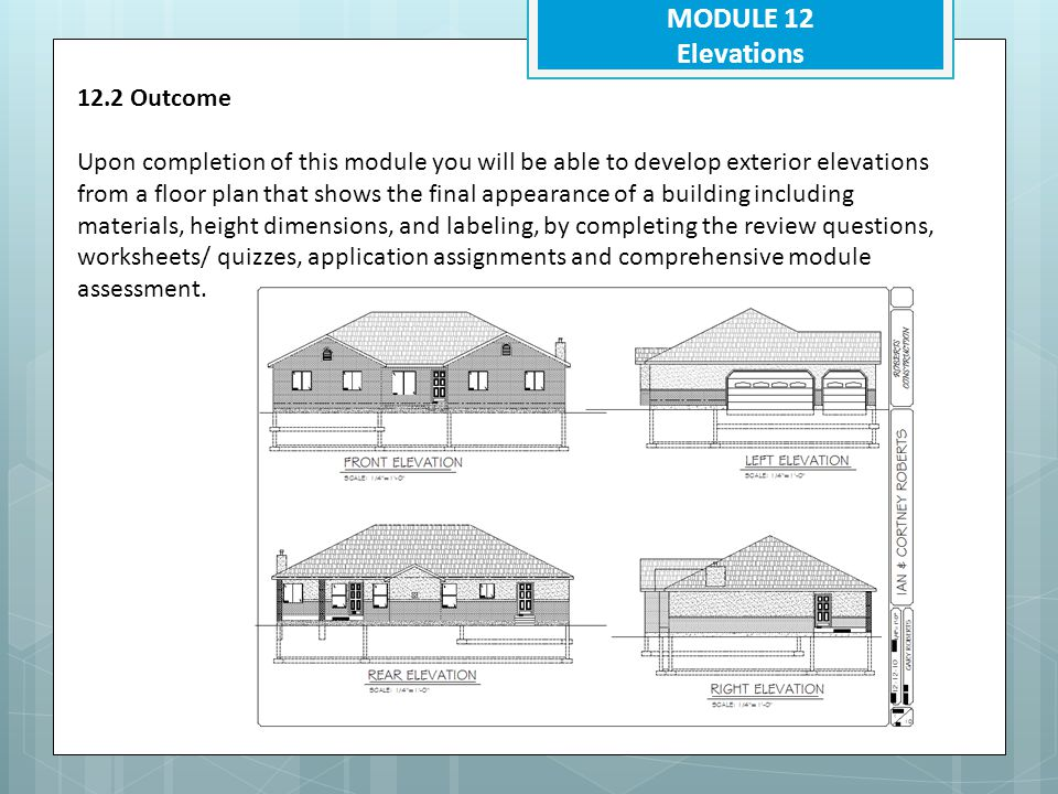 MODULE 12 Elevations 12.5.3 What are the required elements needed Show all four sides- Show other views as necessary Identify specific sides Printed at a scale of ¼ =1'-0